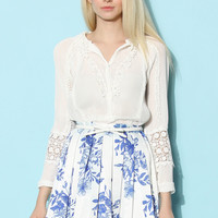 Tender Lace Trimmed Pleated Chiffon Top White