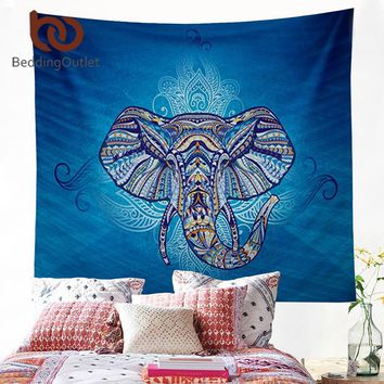 Elephant Tapestry Wall Hanging Animal Twin Hippie Tapestry Blue Boho Hippy Bohemian