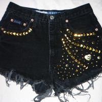 Express cut off denim shorts Size 3 / 4 Small  Studded frayed