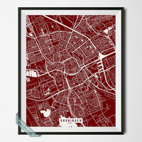 Groningen Street Map, Netherlands Poster, Groningen Print, Netherlands Print, Street Map Print, Map Print, Wall Print, Back To School