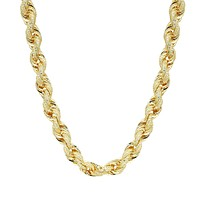 Iced Out Rope Chain 14k Gold Finish Sterling Silver