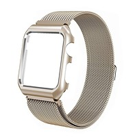 Noir Apple Watch Band with Case 38mm, Stainless Steel Mesh Milanese Loop with Adjustable Magnetic Closure for Apple Watch Series 3 2 1, Gold