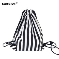EXCELSIOR 2017 Vintage Stripe Printing Drawstring SackPack Bag Women's Canvas Backpack Bag Beach Travel Bag School Bags G0756