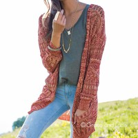 Grace & Lace Oversized Pocket Cardigan (Heather Rust)