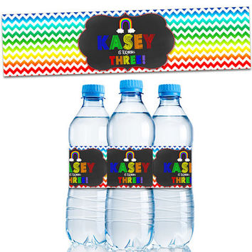 Rainbow Water Bottle Labels - Personalized Rainbow Party Favors - Rainbow Chevron - Rainbow Birthday Decorations - 1st birthday - girl party