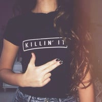 Casual Letter Printed Black Shirt