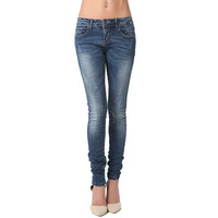 CRUSHED SKINNY JEANS WITH LOW RISE