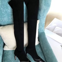 DIOR Plain Leather Elegant Style Over-the-Knee Boots