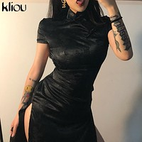 Kliou black Monochrome printing satin Traditional Chinese Dresses  Long Qipao Dress Sexy Split Tang Costume Banquet Qipao woman