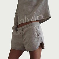 Fashion Print Shirt Shorts Two-Piece Sets - Grey