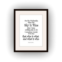 Winnie the pooh, Printable Wall Art, black and white, disney quotes print, nursery decal, bear kids book, On Wednesday, when the sky is blue