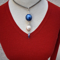 Big Pearl Dangle Choker Necklace with Vintage Components Blue, Silver & White