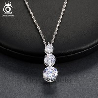 ORSA JEWELS Luxury 3 Pieces Clear Cubic Zirconia Pendant Necklaces 2017 New Fashion Sparkling Elegant Jewelry for Women ON99