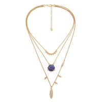 Boho Blue Layered Necklace in Gold