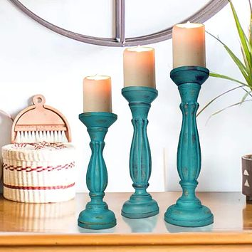 Handmade Wooden Candle Holder with Pillar Base Support, Turquoise Blue, Set of 3