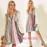 Women mini dress boho chic long lace sheer bell sleeves printed trendy flowy NWT