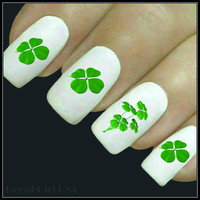 Nail Decal 4 Leaf Clover Nail Art 20 Water Slide Decals St Patrick's Day Fingernail Decals Nail Tattoo
