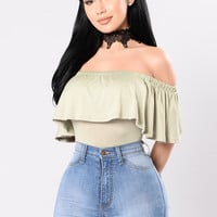 Ruffle Your Feathers Bodysuit - Sage