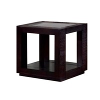 Accent Table - Cappuccino Veneer With Glass Insert