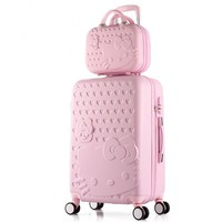 brand 2PCS/SET Lovely 20 24 inches girl students trolley 14inch Cosmetic bag hello Kitty Travel luggage woman rolling suitcase
