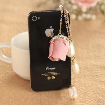 Lovely Bling  Bling Pearl with Rose Anti-Dust Earphone Cap Jack with purl  for Iphone 4 ,Samsung ,HTC  3.5 mm Earphone plug