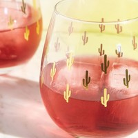 Metallic Cactus Stemless Wine Glass - Set Of 2 | Urban Outfitters