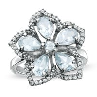 Aquamarine and White Topaz Flower Ring in Sterling Silver