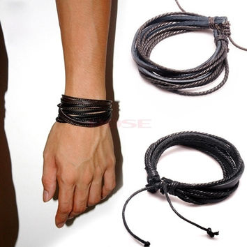 Fashion Men's Women's Multi-layer Synthetic Leather Cuff Adjustable Bracelet 19069 Necklace = 1645690500