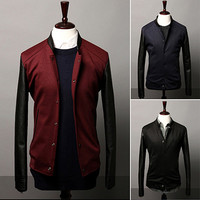Leather Sleeve Men Fashion Varsity Jacket