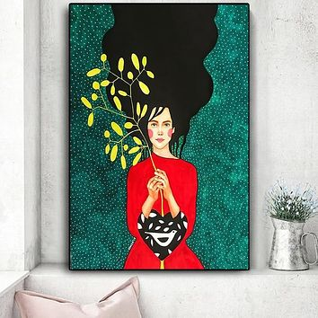 Jasmine and Jade Portrait Abstract Painting