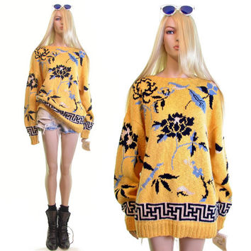 hand knit sweater 90s sweater 1990s 90s clothing oversized sweater yellow 90s grunge hipster boho handmade jumper vintage sweater womens l