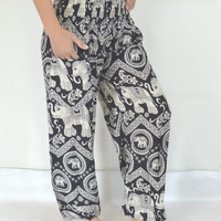 Yoga Pants Black grey elephant stripes/Harem Pants/Boho/Elephant Print design/Stretch elastic waist/Comfortable wear/Message wear/Thailand.
