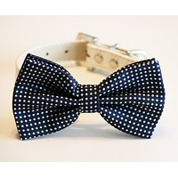 Navy Dog Bow Tie collar, Dog Lovers, Navy wedding accessory, Dog birthday