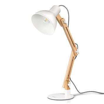 Tomons Swing Arm Desk Lamp, Wood LED Table Lamp, Reading Lights for Office, College Dorm, Living Room, Bedroom, Study, Bedside Nightstand Adjustable Lamp with 4W LED Bulb - White 1.5ft