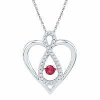 10kt White Gold Women's Round Lab-Created Ruby Diamond Infinity Heart Pendant 1-4 Cttw - FREE Shipping (US/CAN)