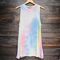 To Dye For Shirt Tank Dress in Rainbow Tie Dye
