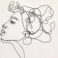 Kiss Profile - Wire wall art - Woman  - female portrait - wall sculpture