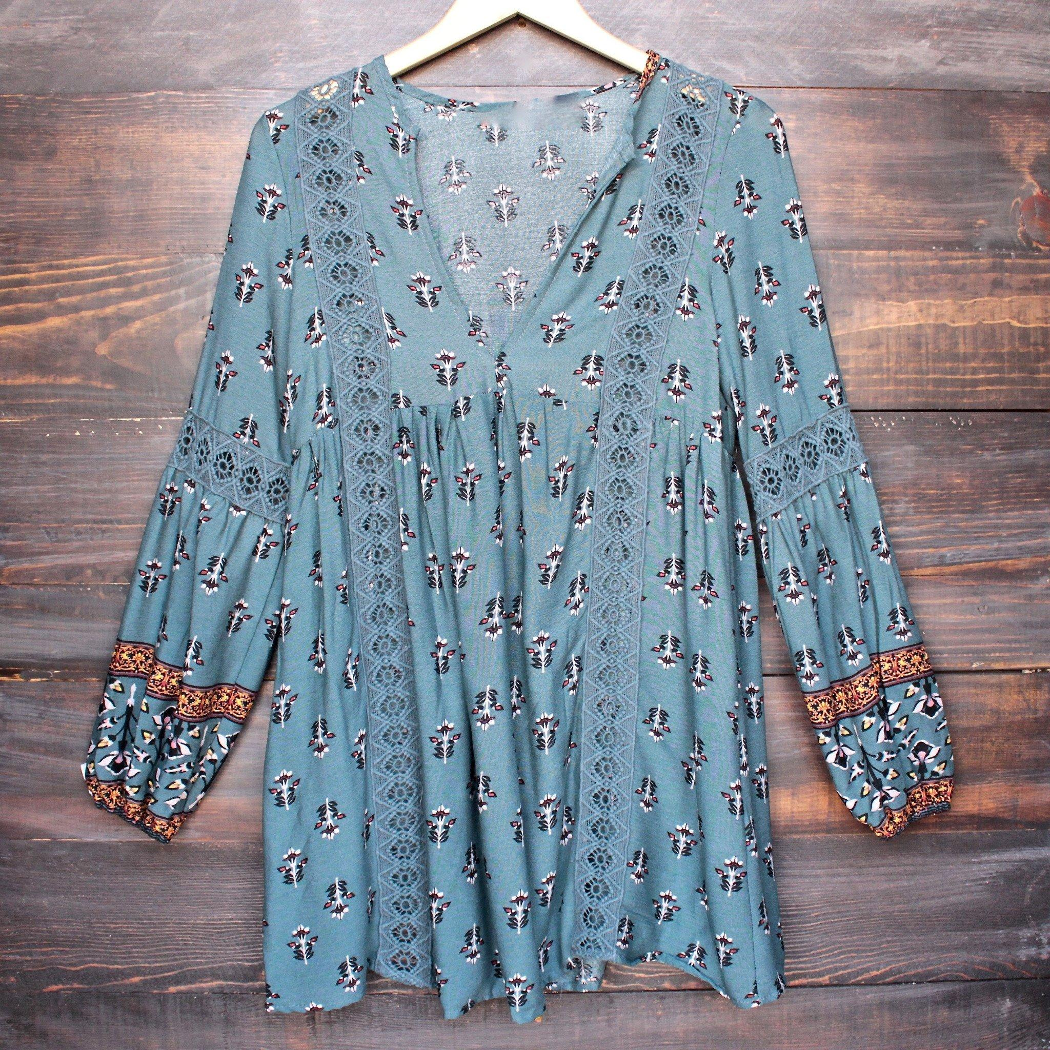 Image of fleetwood lace accent tunic top in sage