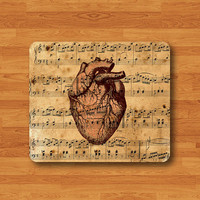 Vintage Heart Anatomy Human Soul Music Piano Sheet Old Pattern Mouse Pad Black Drawing Desk Deco Rubber