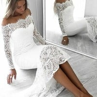 Evening Dress Off the Shoulder White Lace Long Sleeves Prom Dresses