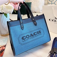 COACH Fashion New Letter Print Canvas Shoulder Bag Crossbody Bag Handbag Blue