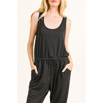 Ankle Length French Terry Sleeveless Romper Jumpsuit Pants