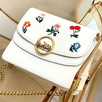 COACH Fashion New Embroidery Floral Chain Shoulder Bag Crossbody Bag White