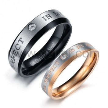 Engraved Promise Rings for Both Men and Women Set of 2