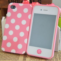 Cute Pink White Polka Dots Gel Silicone Case for iPhone 4 4S+Polka Dots Sticker