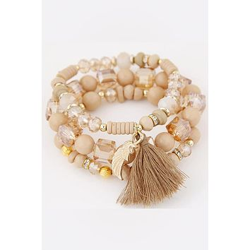 Angel Wing Stacked Bead Bracelet
