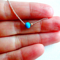 Handmade Arizona Turquoise & 14k Gold Bead 925 Sterling Silver Chain Necklace; January Birthstone Turquoise Mixed Metals Minimalist Necklace