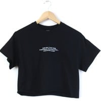Emotional Baggage Graphic Black Unisex Cropped Tee