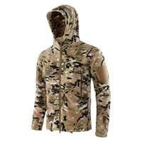 Hunting Jackets For Men Women Dark Camouflage Pattern Fleece Jacket Outdoor Tactical Hooded Jackets High Quality Thermal Coat