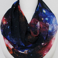 Nebula Space Galaxy Infinity scarf, Loop Scarf, Circle scarf, spring - fall - summer - winter fashion